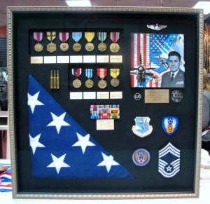 Example of military memorabilia framed in a shadowbox